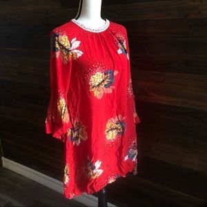 ETOW Red Floral Bell Sleeve Tent Dress Sz S